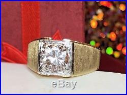 Estate Vintage 14k Yellow Gold White Topaz Men's Ring Gemstone Milgrain Detail