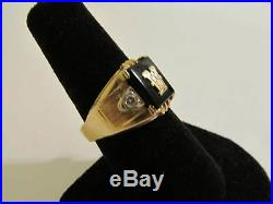 Estate Vintage Men's 14KT GOLD & DIAMOND Black Onyx INITIAL Letter W RING