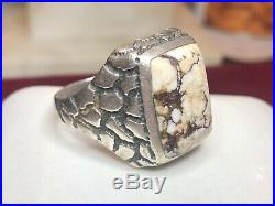 Estate Vintage Sterling Silver White Buffalo Turquoise Ring Men's Signed Band