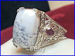 Estate Vintage Sterling White Buffalo Turquoise Ring Men's Signed Sts Band
