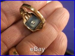 Estate Vtg Antique Art Deco Men's 10k Yellow Gold & Black Onyx W Signet Ring