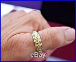 Estate vintage 14k yellow white gold engraved men's eternity wedding ring sz 13