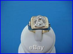 Exquisite 14k Gold Men's Vintage Masonic Ring With Diamond, 14.7 Gr, Size 11