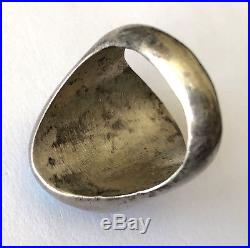 Exquisite Blue Turquoise Vintage Navajo Mens Ring Sterling Heavy 29.8 gr Sz 10.5