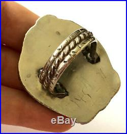 Exquisite Turquoise Vintage Navajo Large Mens Ring Sterling 26.6 gr Size 13