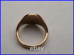 Fab Mens Vintage 9ct Gold Heavy Oval Signet Pinky Ring Size Q 18.36mm 7.9 Grams