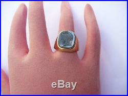Fab Vintage Mens Solid 9ct Gold Intaglio Seal Signet Pinky Ring Size R 18.76mm