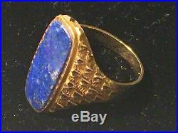 Fabulous Vintage Man Or Lady Lapis Lazuli 18k Ring