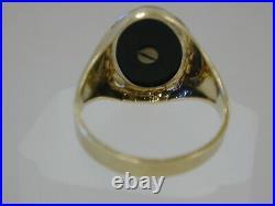 Fine Vintage 14K Yellow Gold Onyx Letter D Initial Mens Signet RingSz 11 3/4