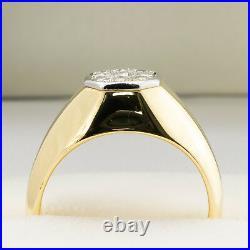 Fine Vintage Estate Men's 18k Yellow Gold White Diamond Cluster Statement Ring