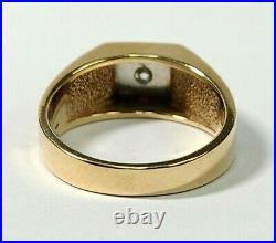 Fx Vintage Mens 14k Yellow Gold Diamond Ring Sz 10 Mans Maze Cuban Link Vs