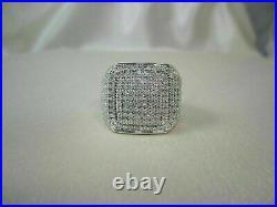 Glamorous Cocktail Men's Wedding Pave Set Ring 14K White Gold 3.56 Ct Diamond