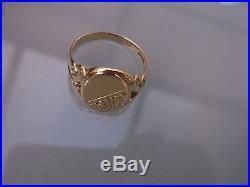 Gold Men's Vintage Signet Ring 9ct Gold Weight 2.8g Size R Hallmarked