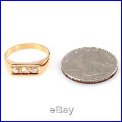 Gorgeous Vintage Men's 0.15ctw 3 Stone Diamond Ring in 18K Gold FJ