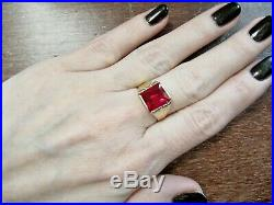 Gorgeous Vntg 14K Yellow Gold signet RING Large Radiant Ruby size 10.25 men's