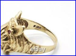 Great Vintage Men's 10k Yellow Gold Cat Tigar Face Ring Size 9.5