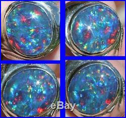 HEAVY 9+ GRAM Vintage 1950's RAINBOW Natural Opal 10k Solid White Gold Mens Ring