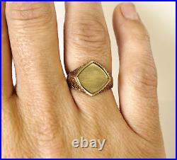 HEAVY Men's Vintage 9ct 375 Yellow Gold Signet Ring 7 grams Birmingham 1970