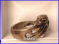 HEAVY STERLING Men's NATIVE AMERICAN EAGLE RING vintage SIGNED DE size 10