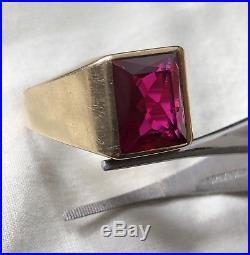 HUGE 5.05ct Vintage Art Deco Fine 10k Gold Ruby Men's Ring GLOWS UNDER UV