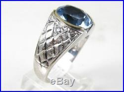 Handsome Vintage 10k White Gold 8ct Blue Spinel Mens Ring 10g eb4057
