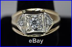 Handsome Vintage 14K Yellow Gold 3 Stone Diamond Mens Ring Heavy Sz 10.5