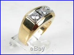 Handsome Vintage 14k Yellow Gold Natural 1.00ctw Diamond Mens Ring 9.7g eb4829