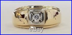 Handsome Vintage 14k Yellow Gold Natural. 20ct Diamond Mens Gents Ring 5.0g