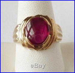 Handsome Vintage MENS 10K Yellow Gold 5.00 Ct Ruby RingLow ProfileSize 9.5