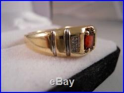 Heavy 8.22g Mens Vintage 10k Yellow Gold Garnet Diamond Art Deco Victorian Ring