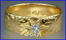 Heavy Antique Victorian Art Nouveau 18K Gold Diamond Mens Star Band Ring 1896 11