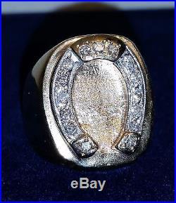 Heavy Men's. 75 ct Diamond Vintage Horseshoe Ring 41.9g 14k Gold Size 11