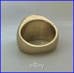 Heavy Vintage 14K Gold Ring 26 GRAMS Opal Doublet Oval Shaped Men Women SIZE 7