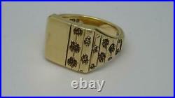 Heavy Vintage English 9ct Gold Men's Signet Ring, UK Size V, c1972,14.5g