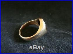 Heavy Vintage Mans Carnelian & Solid 9ct Gold Signet Ring Size L 5.3 Grams