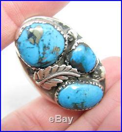 Heavy Vintage Navajo Morenci Turquoise Nugget Mens Ring Sz 10.5 23.6g