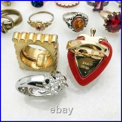 High End Vintage Costume Ring Lot KJL Stannard 925 Crystals 45pcs Men's Women's