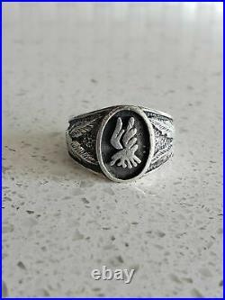 Huge Men's Vintage Navajo Eagle Sterling Silver Ring Old Sz 11 1/4