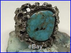 Huge Mens Vintage Handmade Sterling Silver Turquoise Biker Ring (Size 14)