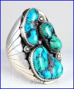 Huge Vtg Navajo High Grade Dendrite Morenci Turquoise Nugget SS Mens Ring Sz 12