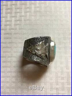 Huge chunky men's vtg giftDead Pawn Sterling Silver Royston RingSize11Free SH
