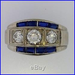 ImportantMen's Diamonds+Sapphires14K White Gold3 Stone RingVintage1940sWOW