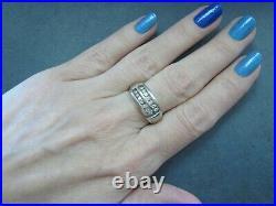 L@@K Vntg Solid 14K White Gold Sparkly 0.56ctw Diamond Signet Ring sz 10.25 MEN