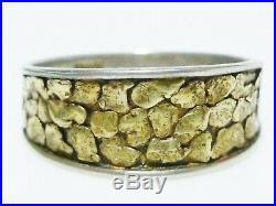 Lucky Nugget 24k Gold Raw Sterling Silver Mens Womens Vintage Ring Band