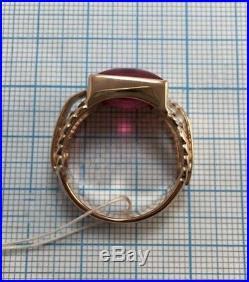 Luxury Vintage Ring Men's GOLD Ruby Stone USSR Soviet Russian 14K 583 Size 10