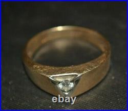 MCM Vintage SOLID 10k GOLD Asymmetrical DIAMOND Signed DAHLIA Sz. 10 MENS RING