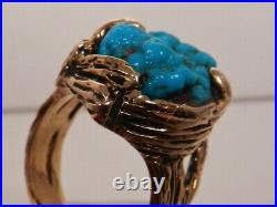 MENS HVY 14K GOLD TURQUOISE & DIAMOND RING, sz 12, CUSTOM MADE VINTAGE ESTATE PCE