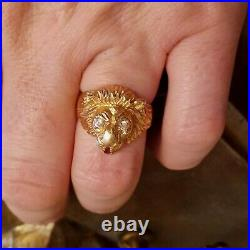 MENS VINTAGE 14K YELLOW GOLD WithRUBY LION HEAD RINGSIZE 10.5 11.5 GRAMS