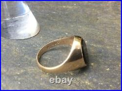 MENS VINTAGE 9ct GOLD ONYX SIGNET RING. PINKY RING