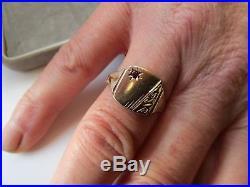 MENS VINTAGE 9ct GOLD & RUBY HM BIRMINGHAM 1972 SIGNET RING SIZE U, 5.8 GRAMS